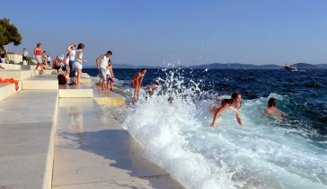 Promenade steps with the Sea Organ in Zadar