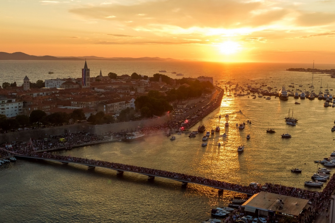 Aerial view of the historical peninsula of Zadar at sunset